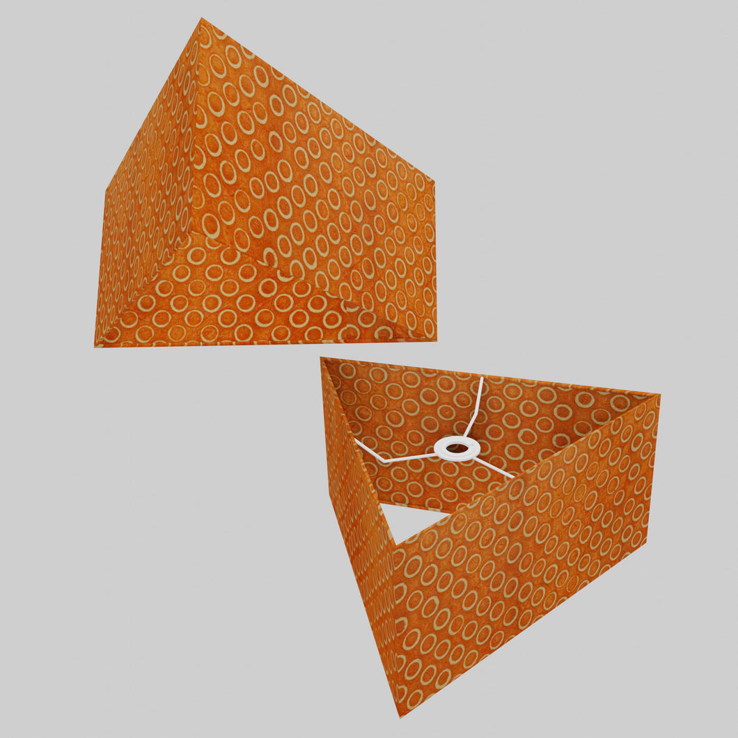 Triangle Lamp Shade - P03 - Batik Orange Circles, 40cm(w) x 20cm(h)