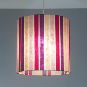 Drum Lamp Shade - P04 - Batik Stripes Pink, 40cm(d) x 20cm(h)