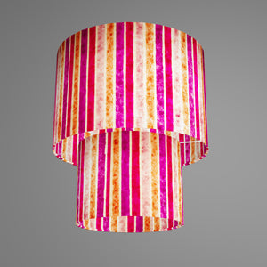 2 Tier Lamp Shade - P04 - Batik Stripes Pink, 30cm x 20cm & 20cm x 15cm