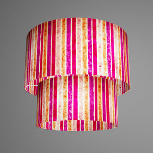 2 Tier Lamp Shade - P04 - Batik Stripes Pink, 40cm x 20cm & 30cm x 15cm