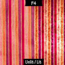 Oval Lamp Shade - P04 - Batik Stripes Pink, 20cm(w) x 20cm(h) x 13cm(d) - Imbue Lighting