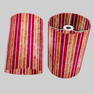 Drum Lamp Shade - P04 - Batik Stripes Pink, 20cm(d) x 30cm(h)