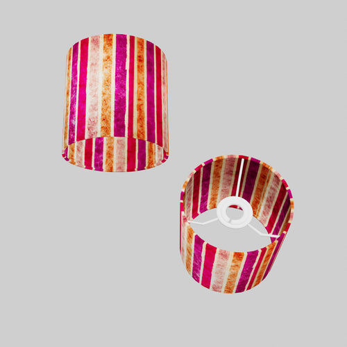 Drum Lamp Shade - P04 - Batik Stripes Pink, 15cm(d) x 15cm(h)