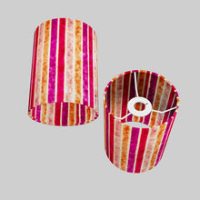 Drum Lamp Shade - P04 - Batik Stripes Pink, 15cm(d) x 20cm(h)