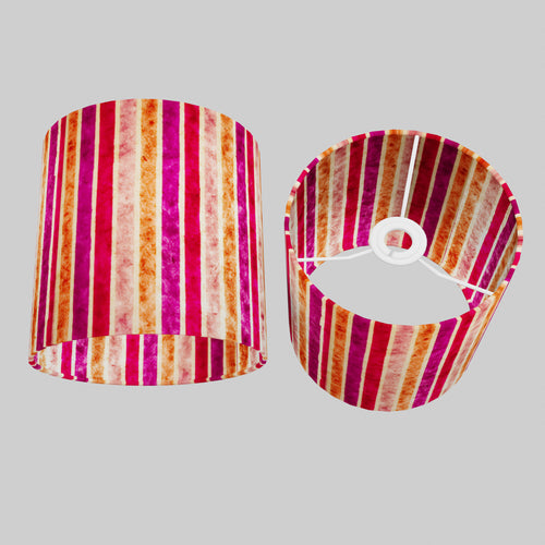 Drum Lamp Shade - P04 - Batik Stripes Pink, 20cm(d) x 20cm(h)