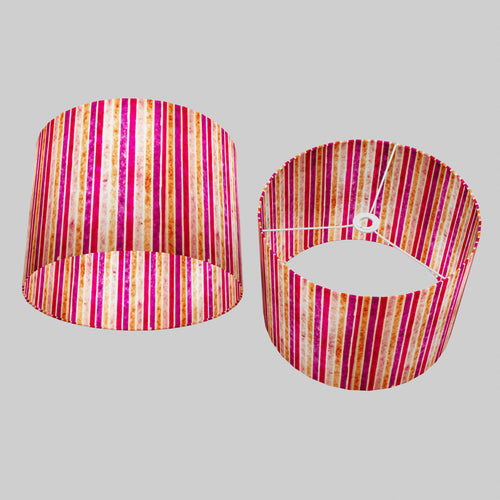 Drum Lamp Shade - P04 - Batik Stripes Pink, 40cm(d) x 30cm(h)