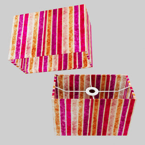 Rectangle Lamp Shade - P04 - Batik Stripes Pink, 30cm(w) x 20cm(h) x 15cm(d)
