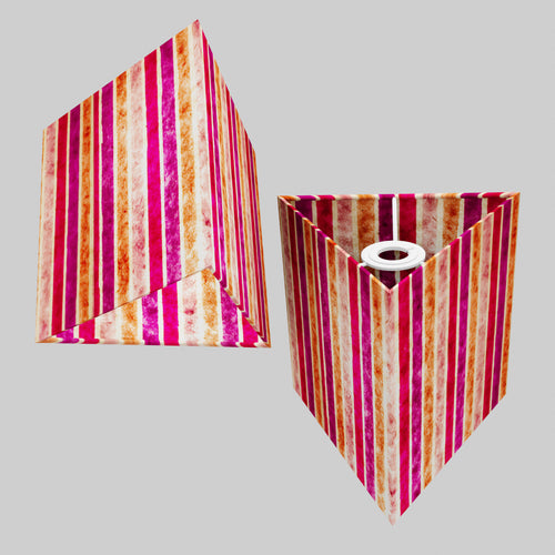 Triangle Lamp Shade - P04 - Batik Stripes Pink, 20cm(w) x 20cm(h)