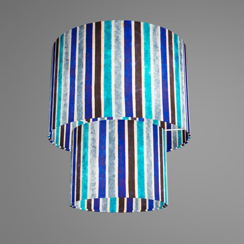 2 Tier Lamp Shade - P05 - Batik Stripes Blue, 30cm x 20cm & 20cm x 15cm