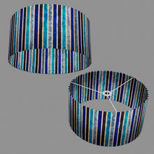 Drum Lamp Shade - P05 - Batik Stripes Blue, 40cm(d) x 20cm(h)