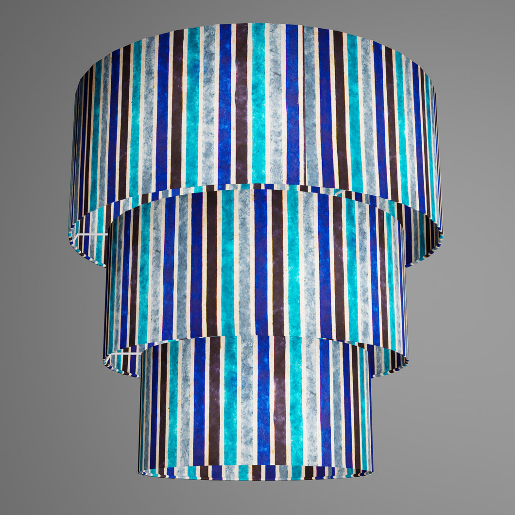 3 Tier Lamp Shade - P05 - Batik Stripes Blue, 50cm x 20cm, 40cm x 17.5cm & 30cm x 15cm