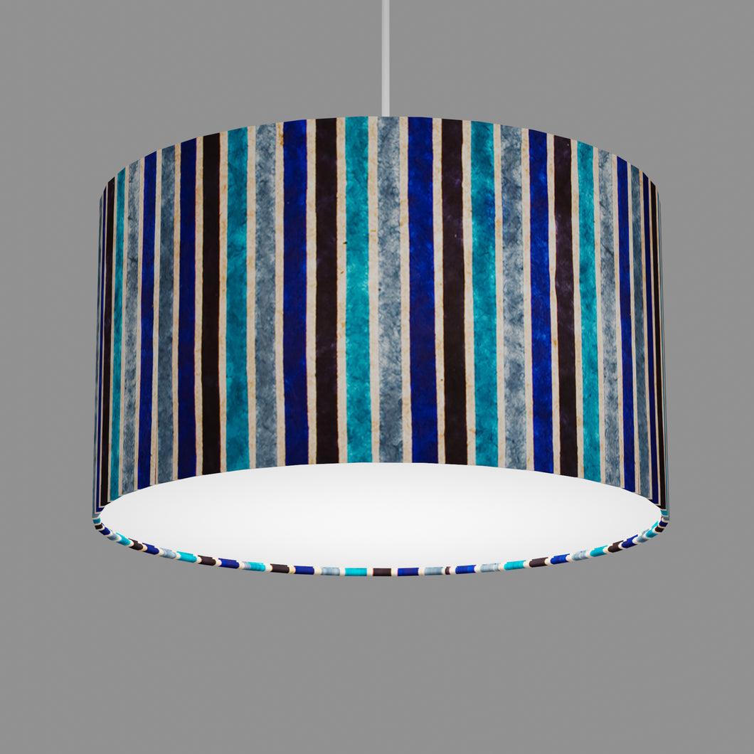Drum Lamp Shade - P05 - Batik Stripes Blue, 35cm(d) x 20cm(h)