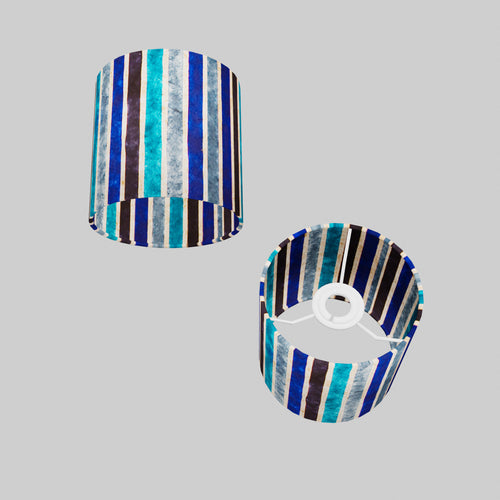 Drum Lamp Shade - P05 - Batik Stripes Blue, 15cm(d) x 15cm(h)