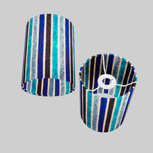 Drum Lamp Shade - P05 - Batik Stripes Blue, 15cm(d) x 20cm(h)