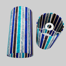 Drum Lamp Shade - P05 - Batik Stripes Blue, 15cm(d) x 30cm(h)