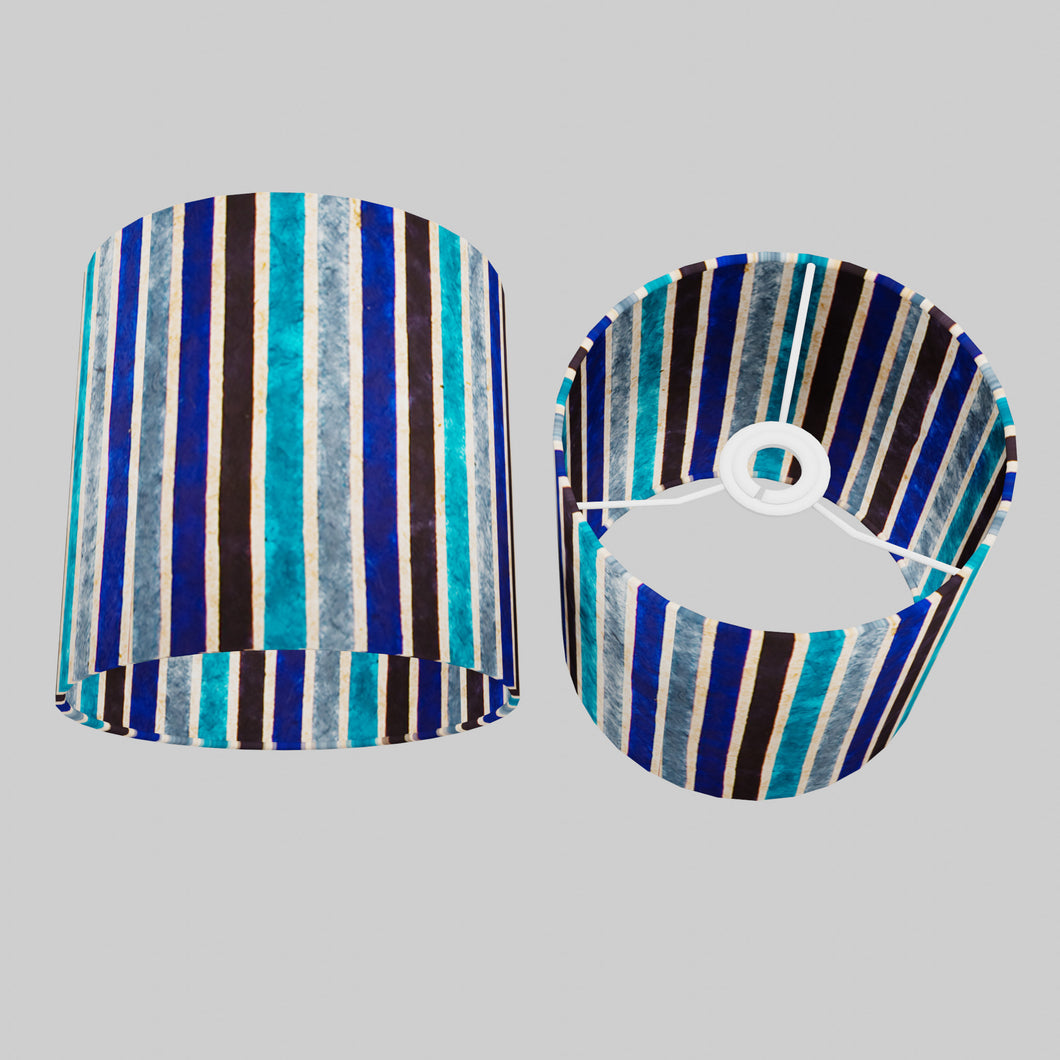 Drum Lamp Shade - P05 - Batik Stripes Blue, 20cm(d) x 20cm(h)