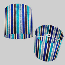 Drum Lamp Shade - P05 - Batik Stripes Blue, 30cm(d) x 30cm(h)
