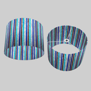 Drum Lamp Shade - P05 - Batik Stripes Blue, 40cm(d) x 30cm(h)