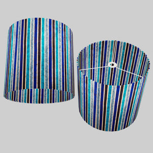 Drum Lamp Shade - P05 - Batik Stripes Blue, 40cm(d) x 40cm(h)