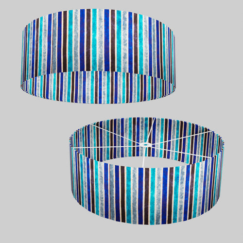 Drum Lamp Shade - P05 - Batik Stripes Blue, 60cm(d) x 20cm(h)