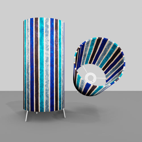 Free Standing Table Lamp Small - P05 ~ Batik Stripes Blue