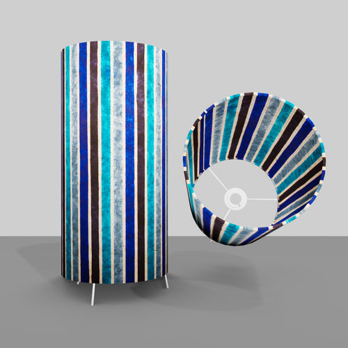 Free Standing Table Lamp Large - P05 ~ Batik Stripes Blue