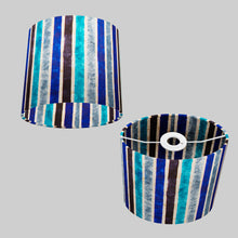 Oval Lamp Shade - P05 - Batik Stripes Blue, 20cm(w) x 20cm(h) x 13cm(d)