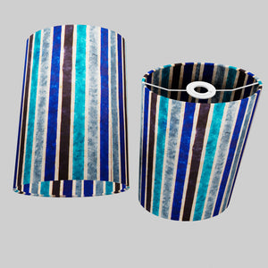 Oval Lamp Shade - P05 - Batik Stripes Blue, 20cm(w) x 30cm(h) x 13cm(d)