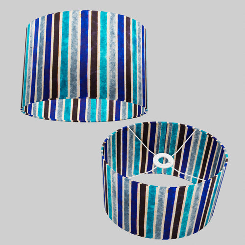 Oval Lamp Shade - P05 - Batik Stripes Blue, 30cm(w) x 20cm(h) x 22cm(d)