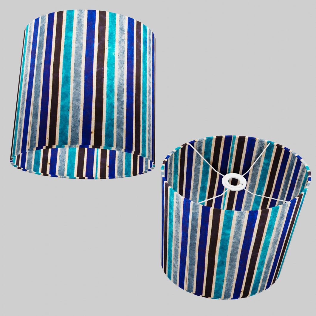 Oval Lamp Shade - P05 - Batik Stripes Blue, 30cm(w) x 30cm(h) x 22cm(d)