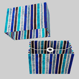 Rectangle Lamp Shade - P05 - Batik Stripes Blue, 30cm(w) x 20cm(h) x 15cm(d)