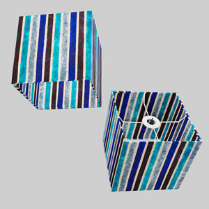 Square Lamp Shade - P05 - Batik Stripes Blue, 20cm(w) x 20cm(h) x 20cm(d)