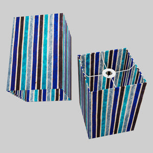 Square Lamp Shade - P05 - Batik Stripes Blue, 20cm(w) x 30cm(h) x 20cm(d)