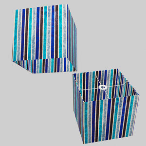 Square Lamp Shade - P05 - Batik Stripes Blue, 30cm(w) x 30cm(h) x 30cm(d)