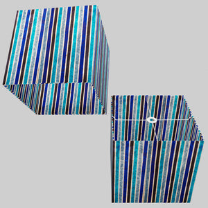 Square Lamp Shade - P05 - Batik Stripes Blue, 40cm(w) x 40cm(h) x 40cm(d)
