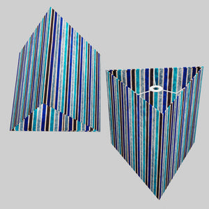 Triangle Lamp Shade - P05 - Batik Stripes Blue, 40cm(w) x 40cm(h)