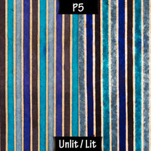 Drum Floor Lamp - P05 - Batik Stripes Blue, 22cm(d) x 114cm(h) - Imbue Lighting