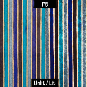 Oval Lamp Shade - P05 - Batik Stripes Blue, 20cm(w) x 20cm(h) x 13cm(d) - Imbue Lighting