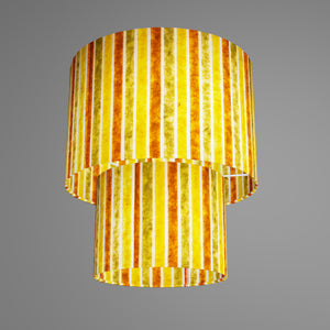 2 Tier Lamp Shade - P06 - Batik Stripes Autumn, 30cm x 20cm & 20cm x 15cm