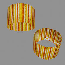 Drum Lamp Shade - P06 - Batik Stripes Autumn, 30cm(d) x 20cm(h)