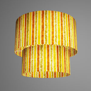 2 Tier Lamp Shade - P06 - Batik Stripes Autumn, 40cm x 20cm & 30cm x 15cm