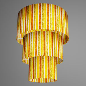 3 Tier Lamp Shade - P06 - Batik Stripes Autumn, 40cm x 20cm, 30cm x 17.5cm & 20cm x 15cm