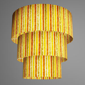 3 Tier Lamp Shade - P06 - Batik Stripes Autumn, 50cm x 20cm, 40cm x 17.5cm & 30cm x 15cm