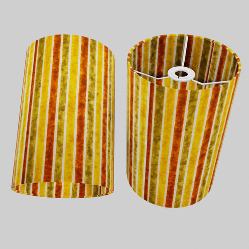 Drum Lamp Shade - P06 - Batik Stripes Autumn, 20cm(d) x 30cm(h)