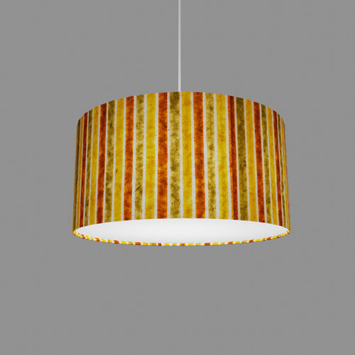 Drum Lamp Shade - P06 - Batik Stripes Autumn, 40cm(d) x 20cm(h)