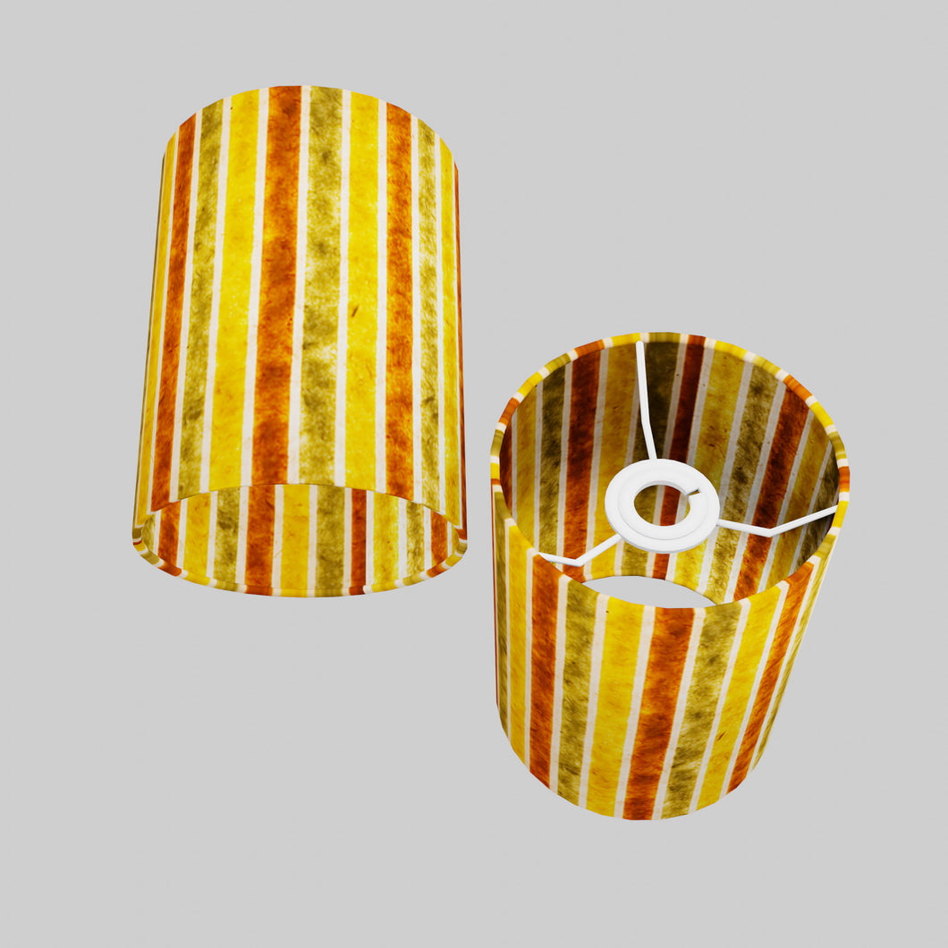 Drum Lamp Shade - P06 - Batik Stripes Autumn, 15cm(d) x 20cm(h)