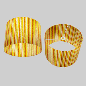 Drum Lamp Shade - P06 - Batik Stripes Autumn, 40cm(d) x 30cm(h)