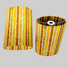 Oval Lamp Shade - P06 - Batik Stripes Autumn, 20cm(w) x 30cm(h) x 13cm(d)