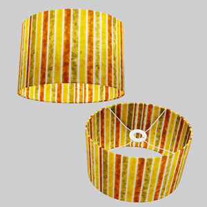 Oval Lamp Shade - P06 - Batik Stripes Autumn, 30cm(w) x 20cm(h) x 22cm(d)