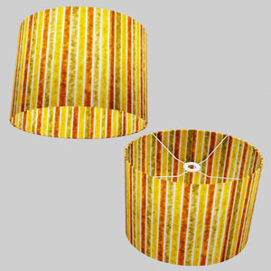 Oval Lamp Shade - P06 - Batik Stripes Autumn, 40cm(w) x 30cm(h) x 30cm(d)